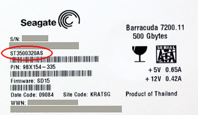 Data recovery from hard disks Seagate / Maxtor: HDD label